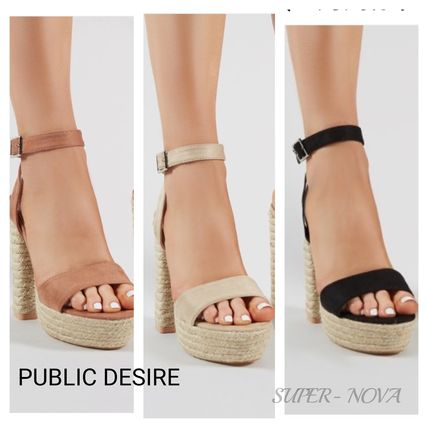 Open Toe Casual Style Plain Block Heels Heeled Sandals