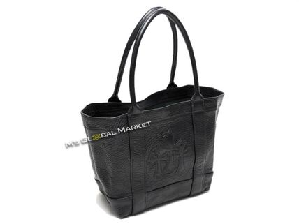 CHROME HEARTS CH CROSS Casual Style Unisex Leather Totes