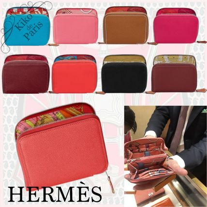 HERMES Silk In Calfskin Long Wallet  Folding Wallets