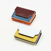 MARNI TRUNK Plain Leather Folding Wallet Small Wallet Folding Wallets