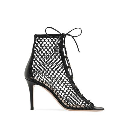 Open Toe Lace-up Leather Pin Heels Elegant Style