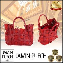 JAMIN PUECH Casual Style Suede Plain Leather Elegant Style Handbags