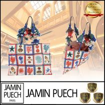JAMIN PUECH Casual Style Blended Fabrics A4 Leather Fringes Handbags
