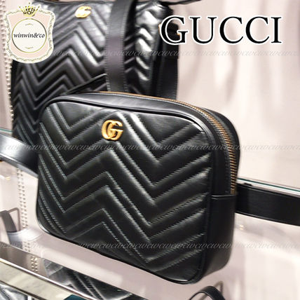 GUCCI Casual Style Leather Elegant Style Logo Shoulder Bags