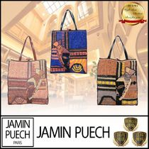 JAMIN PUECH Casual Style Blended Fabrics A4 Leather Office Style Totes