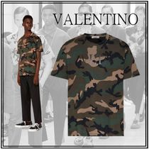 VALENTINO VLTN Crew Neck Pullovers Camouflage Street Style Cotton