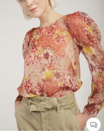 Flower Patterns Casual Style Chiffon Cropped Long Sleeves