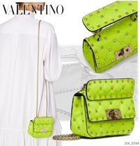 VALENTINO Casual Style Calfskin Studded 2WAY Chain Plain Party Style