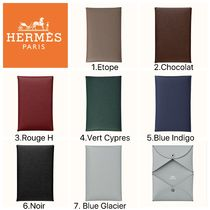 HERMES Calvi Plain Leather Folding Wallet Card Holders