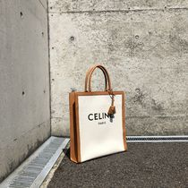 CELINE Casual Style Canvas Blended Fabrics A4 Plain Leather