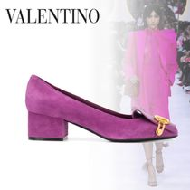 VALENTINO Casual Style Suede Plain Leather Party Style Elegant Style