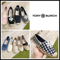 Tory Burch Round Toe Casual Style Plain Logo Flats