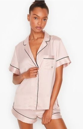 Dots Blended Fabrics Plain Co-ord Logo Lounge & Sleepwear