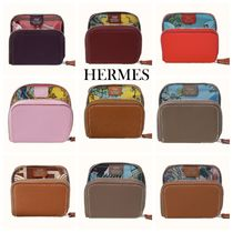 HERMES Silk In Leather Small Wallet Coin Cases