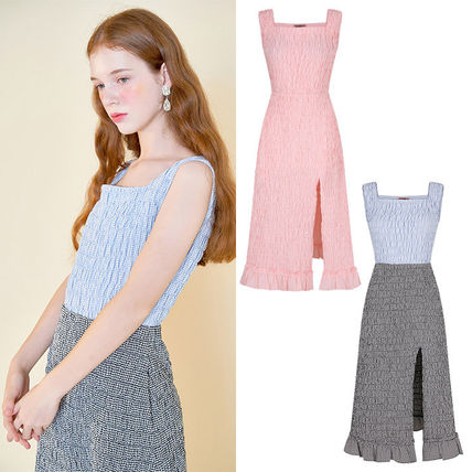 Gingham Other Plaid Patterns Casual Style Maxi A-line