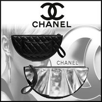 CHANEL Casual Style Unisex Lambskin Plain Leather Party Style
