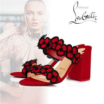 Christian Louboutin Flower Patterns Open Toe Casual Style Suede Velvet