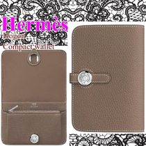 HERMES Dogon Plain Leather Folding Wallet Small Wallet Bridal Coin Cases