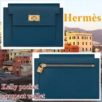 HERMES Kelly Unisex Plain Leather Small Wallet Bridal Coin Cases