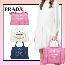 PRADA CANAPA Casual Style Canvas 2WAY Plain Party Style Office Style