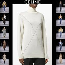 CELINE Casual Style Cashmere Long Sleeves Long Oversized