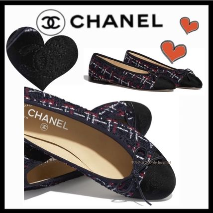 CHANEL ICON Round Toe Tweed Blended Fabrics Bi-color Elegant Style Flats