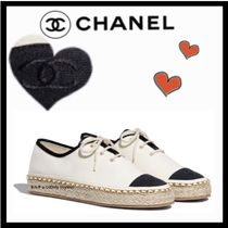 CHANEL Lace-up Casual Style Chain Plain Low-Top Sneakers