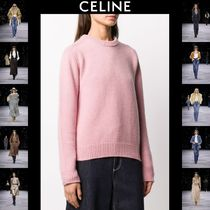 CELINE Casual Style Cashmere Rib Street Style U-Neck Long Sleeves