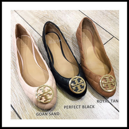 Tory Burch Plain Leather Logo Ballet Shoes