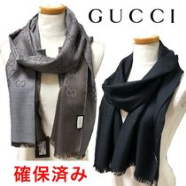 GUCCI Wool Silk Logo Knit & Fur Scarves