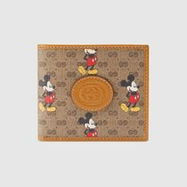 GUCCI Unisex Plain Logo Folding Wallets