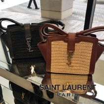 Saint Laurent Blended Fabrics 2WAY Plain Crossbody Logo Straw Bags