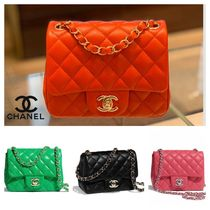 CHANEL MATELASSE Lambskin Chain Plain Crossbody Shoulder Bags