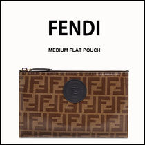 FENDI Monogram Casual Style Street Style Leather Party Style