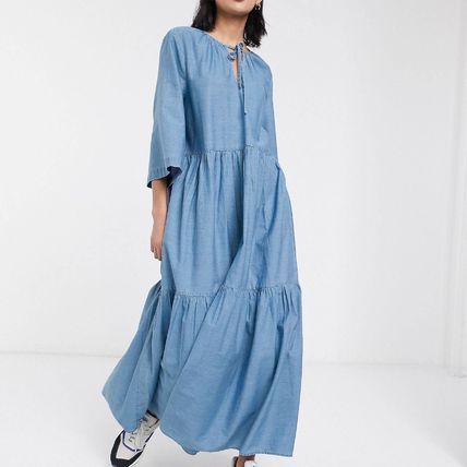 Casual Style Maxi Flared V-Neck Cropped Plain Cotton Long