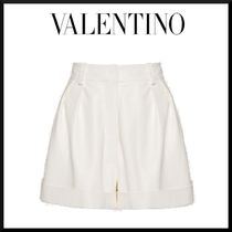 VALENTINO Plain Leather Leather & Faux Leather Shorts