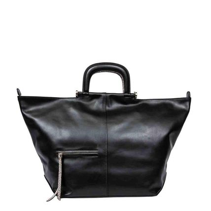Casual Style A4 Plain Leather Party Style Office Style