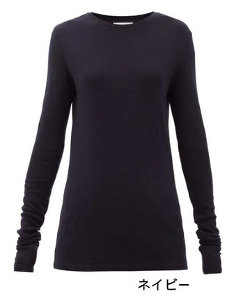 Wool Boat Neck Long Sleeves Plain Medium Long Sleeve T-shirt