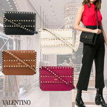 VALENTINO Casual Style Studded Leather Elegant Style Crossbody