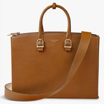 Aspinal of London Plain Leather Logo Totes