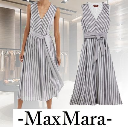 Stripes Casual Style A-line Sleeveless Flared V-Neck Cotton