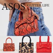 ASOS Leopard Patterns Faux Fur 2WAY Chain Python Shoulder Bags