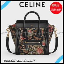 CELINE Luggage Flower Patterns Calfskin Blended Fabrics 2WAY Leather