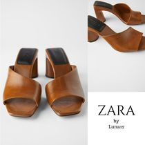 ZARA Square Toe Casual Style Plain Leather Block Heels