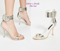Alice+Olivia Open Toe Casual Style Leather Pin Heels Party Style