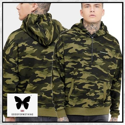 Camouflage Street Style Long Sleeves Cotton Oversized Logo