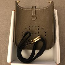 HERMES Evelyne Casual Style Plain Leather Crossbody Shoulder Bags