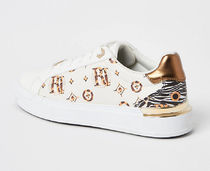 River Island Casual Style Faux Fur Logo Low-Top Sneakers