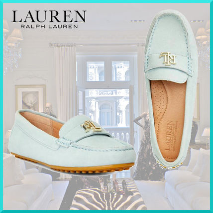 Round Toe Casual Style Suede Office Style Logo Flats