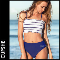 CUPSHE Stripes Plain Bikinis